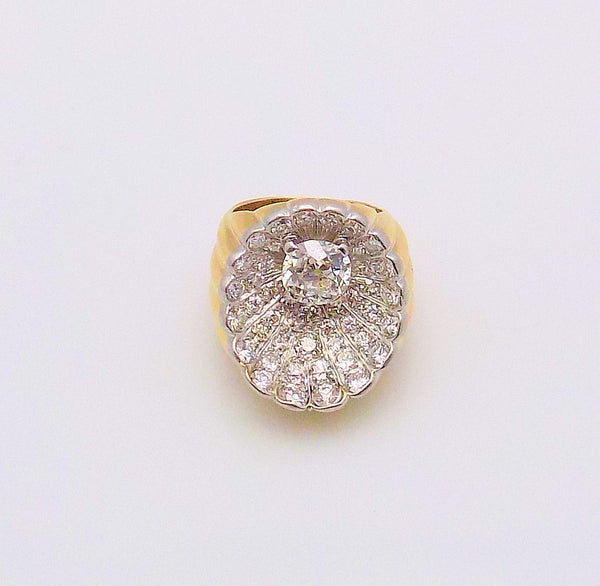14K White Gold/Yellow Gold Shell Motif Diamond Ring