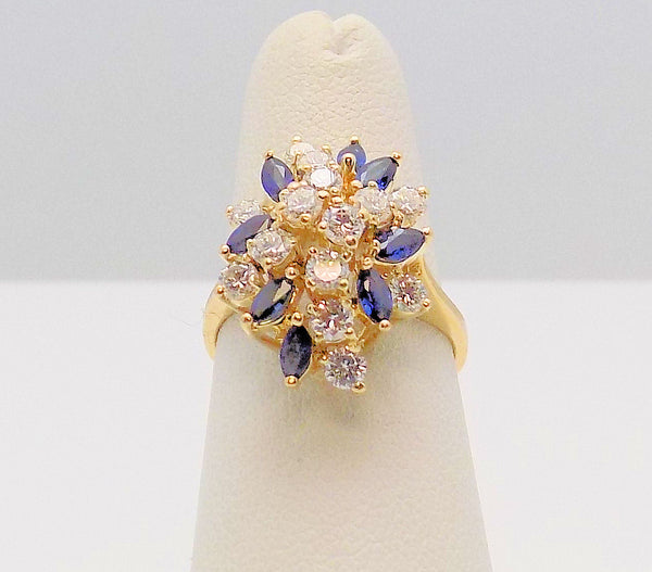 14K Yellow Gold Sapphire & Diamond Cluster Ring