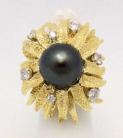 Black Tahitian, Diamond & Yellow Gold Ring