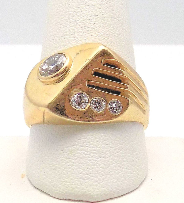 14K Yellow Gold Gent's Diamond Ring