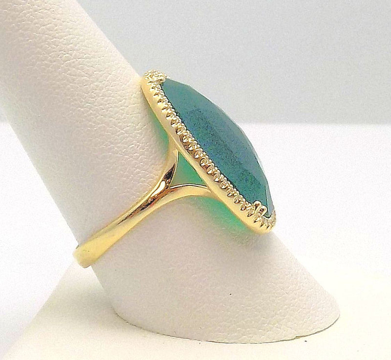 14K Yellow Gold Freeform Green Quartz Ring