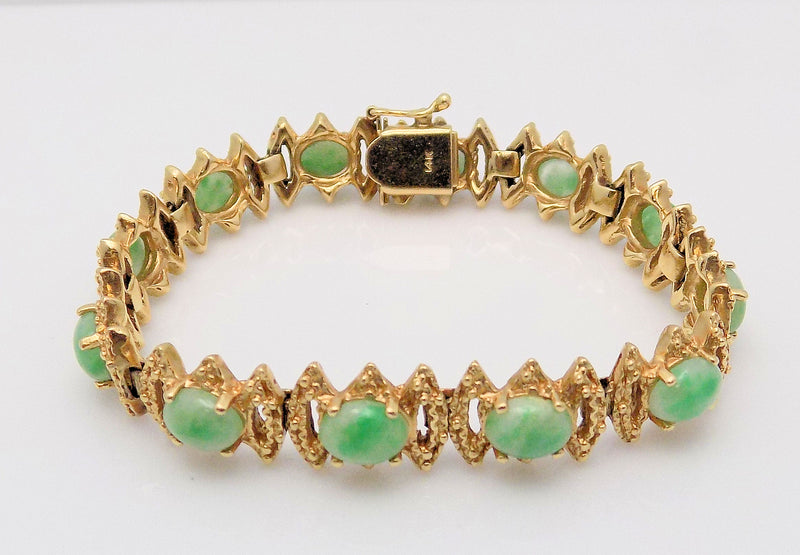 14K Yellow Gold Textured Link Jade Bracelet