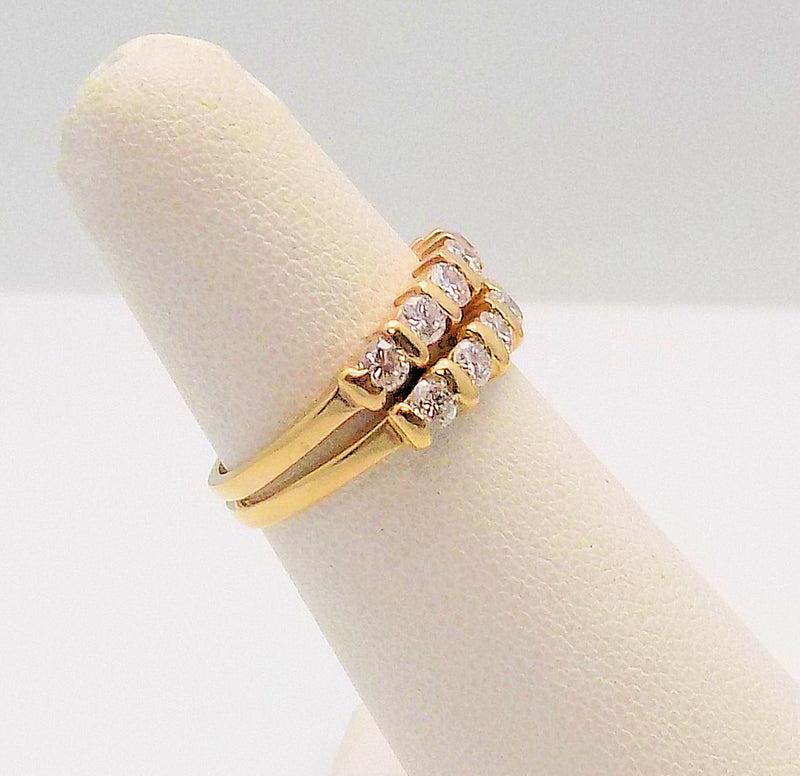 Pair 14K Yellow Gold Diamond Ring Guards
