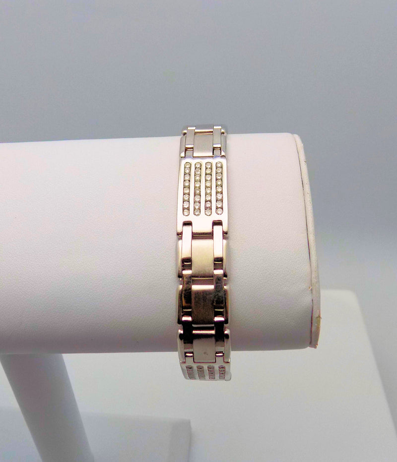 14K White Gold Men's or Ladies' Diamond Line Bracelet