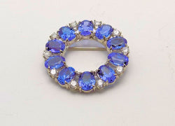 14K White Gold Tanzanite & Diamond Circle Brooch