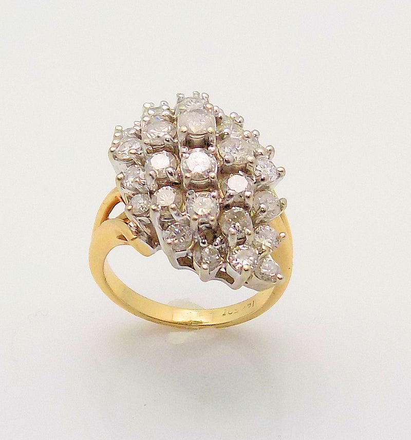 14K Yellow Gold Marquis Shape Diamond Cluster Ring