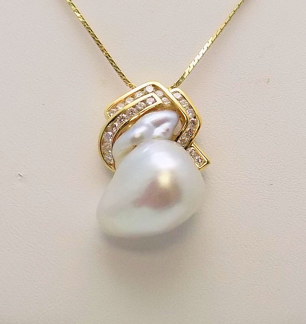 Baroque South Sea Cultured Pearl & Diamond Pendant set in 18K Yellow Gold