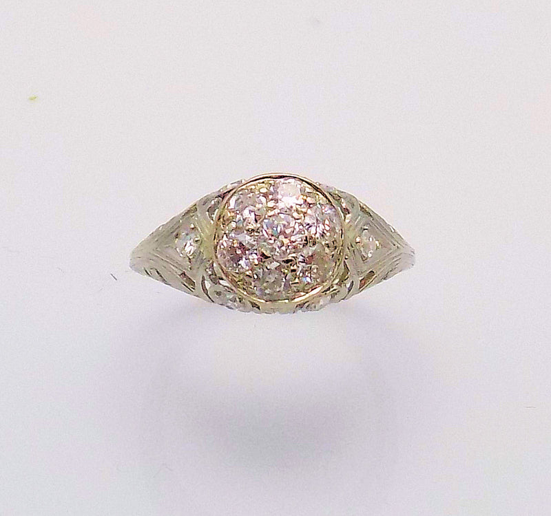 Filigree Diamond Cluster Ring