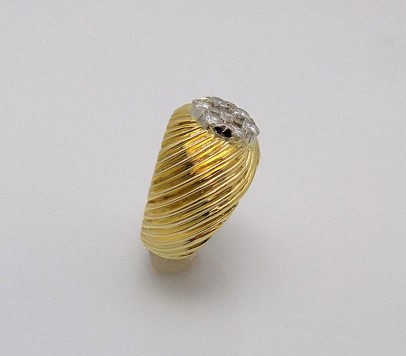 18K Yellow Gold Ribbed Dome Diamond Ring