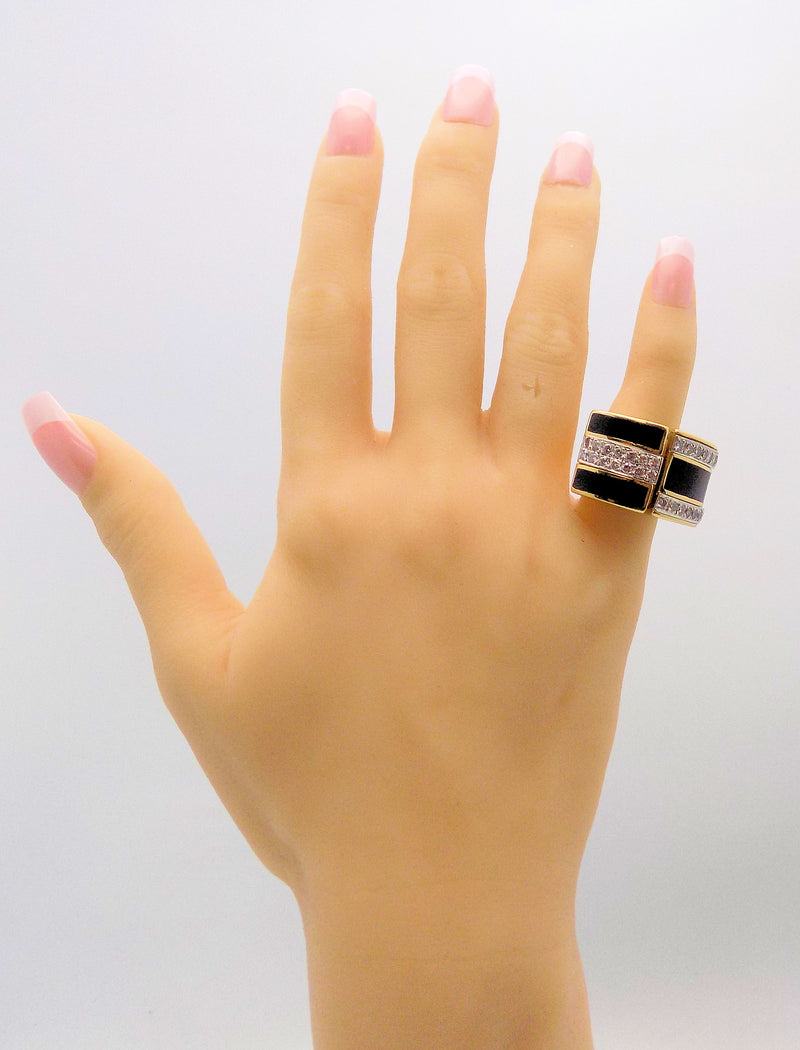 Bold Black Enamel & Diamond Cocktail Ring