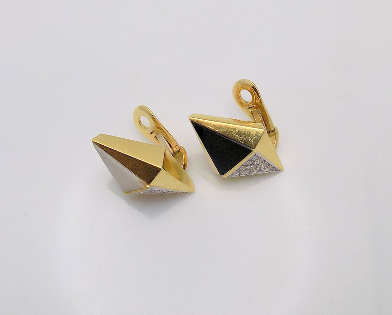 Black/White Onyx Triangle Inlay & Diamond Earrings
