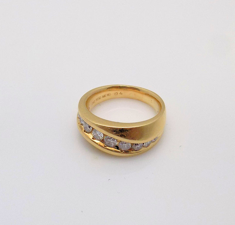 14K Yellow Gold Gent's Diamond Swirl Ring