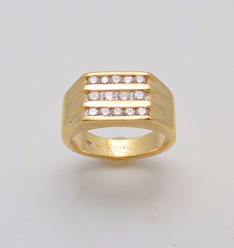 Gent's 3 Row Diamond Ring