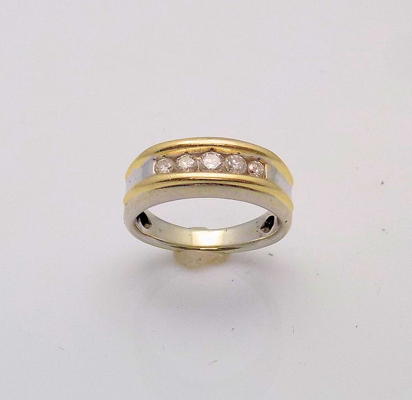 14K Yellow Gold/White Gold Gent's Diamond Band