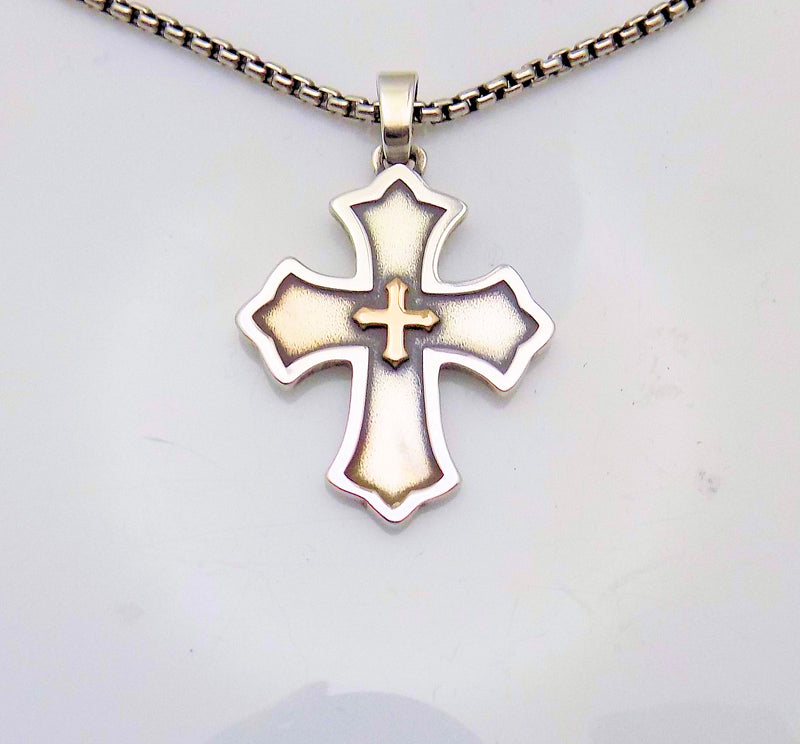 "JAMES AVERY Sterling Silver Cross on 22"" Square Rolo Link Chain"
