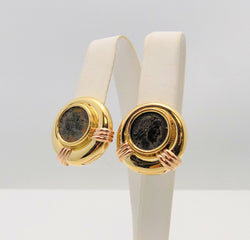 Pair 18k Yellow Gold Pierced/Clip Roman Coin Earrings