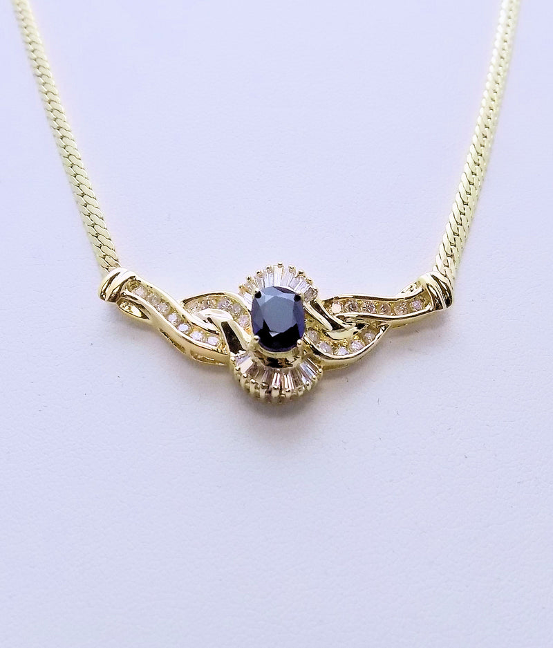 14K Yellow Gold Sapphire & Diamond Necklace