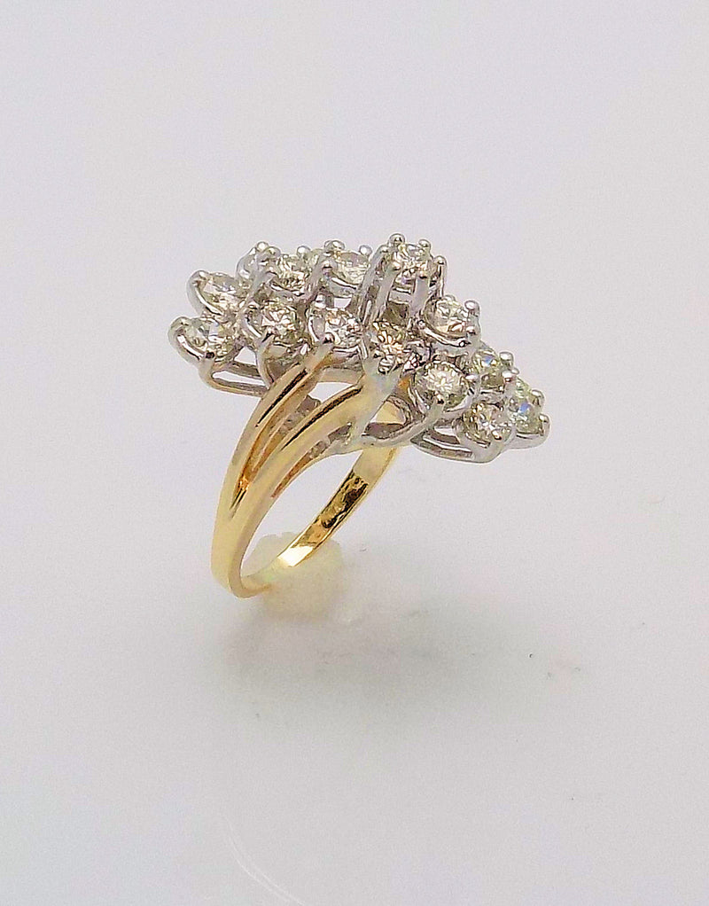 14K White Gold/Yellow Gold Diamond Waterfall Ring