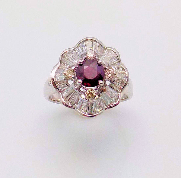 14K White Gold Ballerina Ruby & Diamond Ring