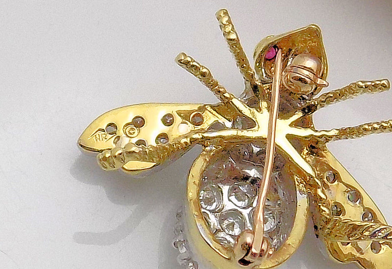 Herbert Rosenthal Diamond & Ruby Bee Brooch