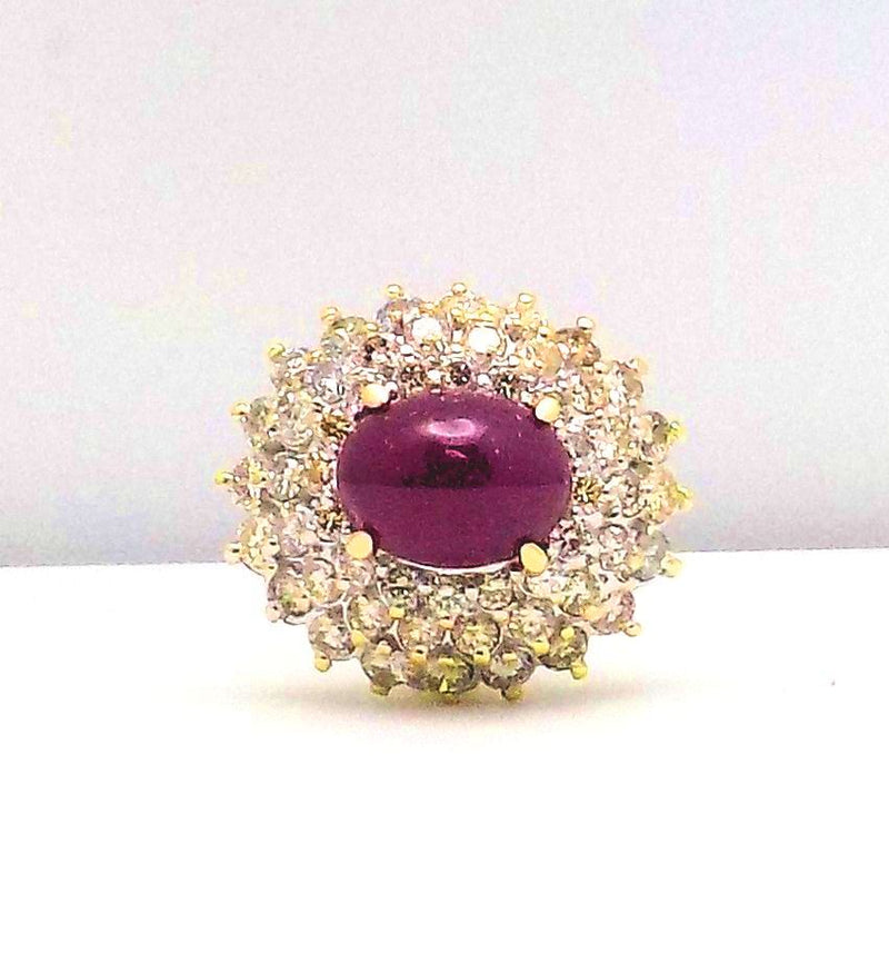 14K Yellow Gold Cabochon Cut Ruby & Diamond Ring