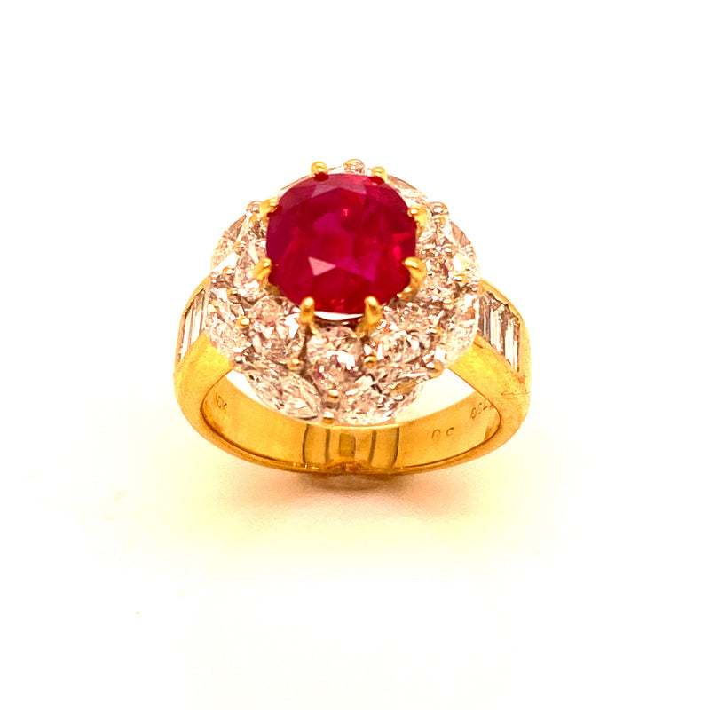 18K Yellow Gold Burmese Ruby & Diamond Ring