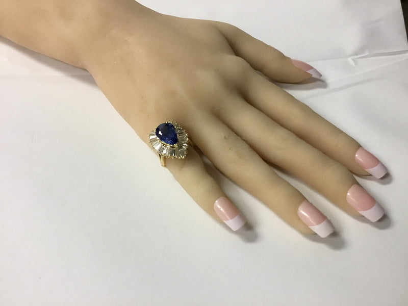 18K Yellow Gold Sapphire & Diamond Ballerina Ring