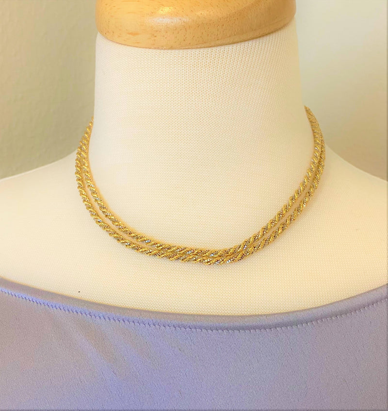 "18K White Gold/Yellow Gold 32"" Twist Rope Chain"