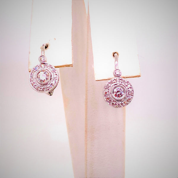 Pair 18K White Gold Diamond Leverback Earrings