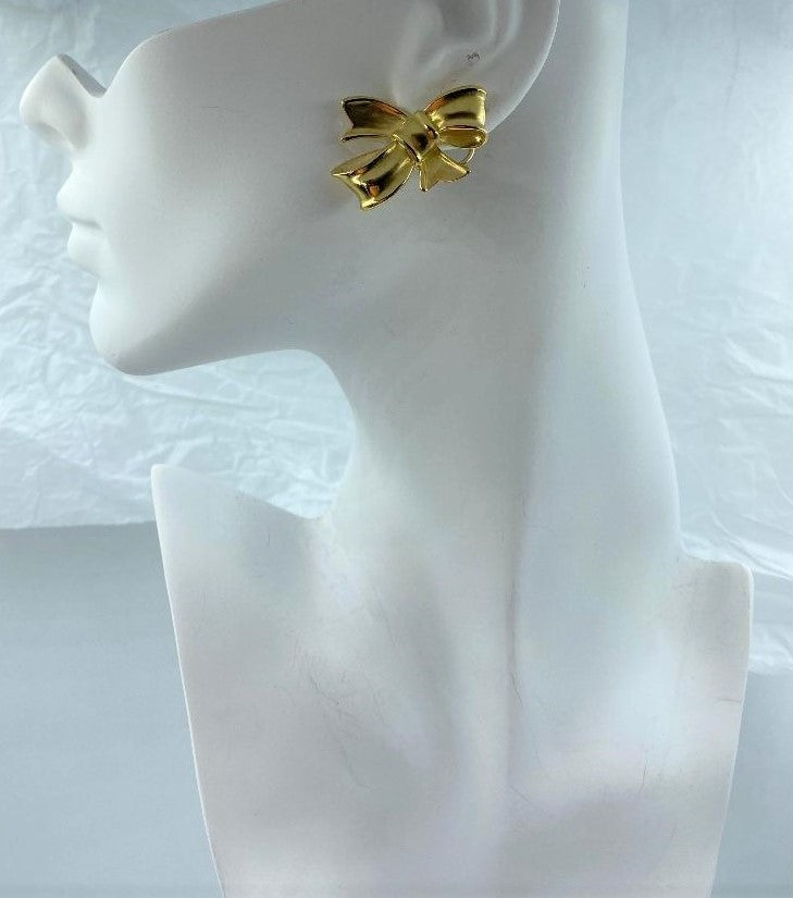 Angela Cummings 18K Yellow Gold Bow Earrings
