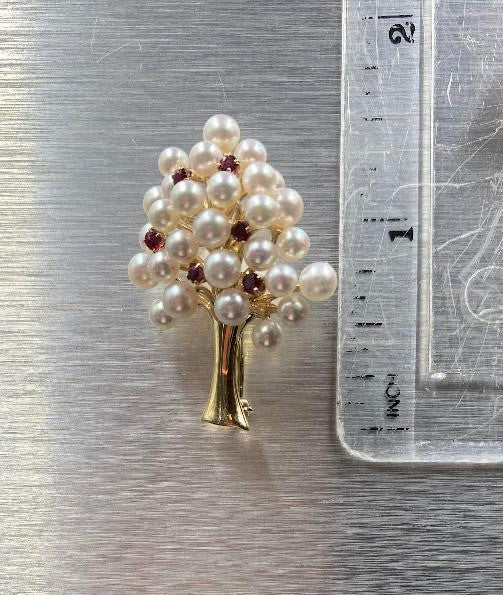14K Yellow Gold Cultured Pearl & Ruby Tree of Life Brooch