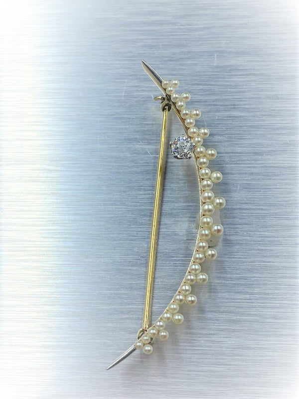14K Yellow Gold Crescent Pearl & Diamond Brooch