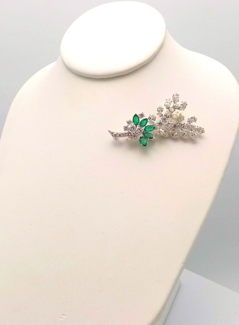 Vintage Tiffany Platinum Handmade Diamond & Emerald Spray Brooch