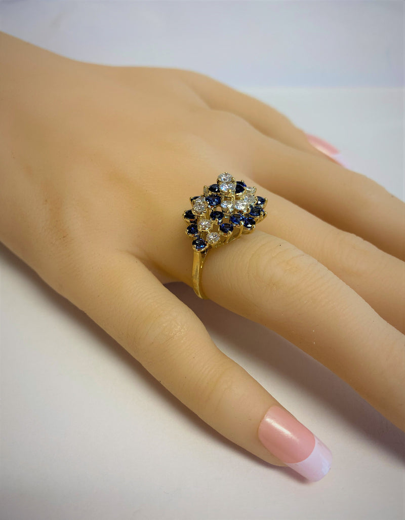 18K Yellow Gold TIFFANY & CO. Sapphire & Diamond Cluster Ring