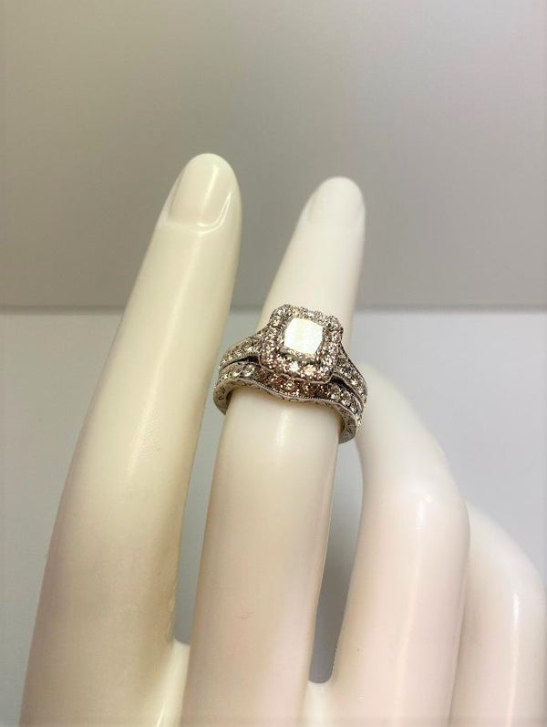 14K White Gold Halo-Set Princess Cut Diamond Wedding Set