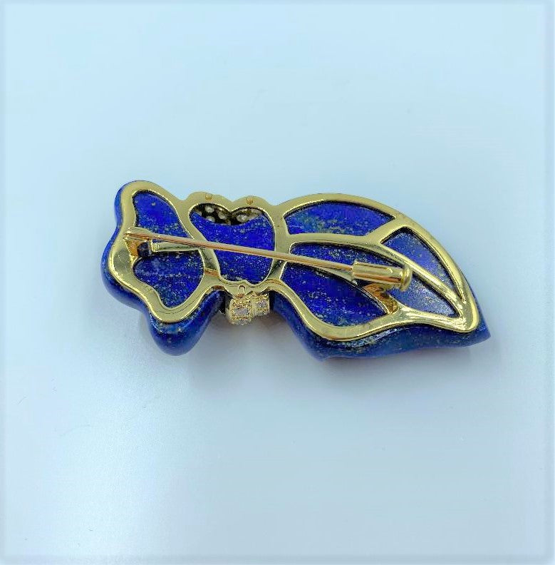 18K Yellow Gold Carved Lapis & Diamond Brooch