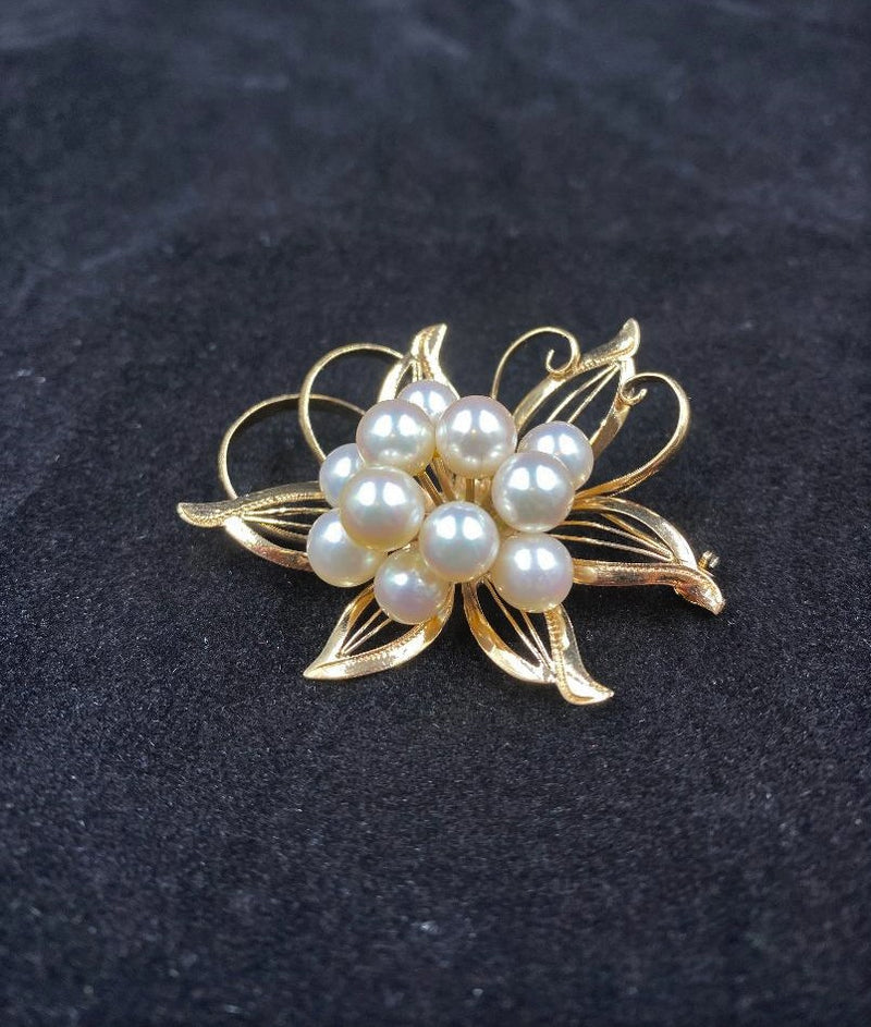 14K Yellow Gold Cultured Pearl Cluster Flower Brooch