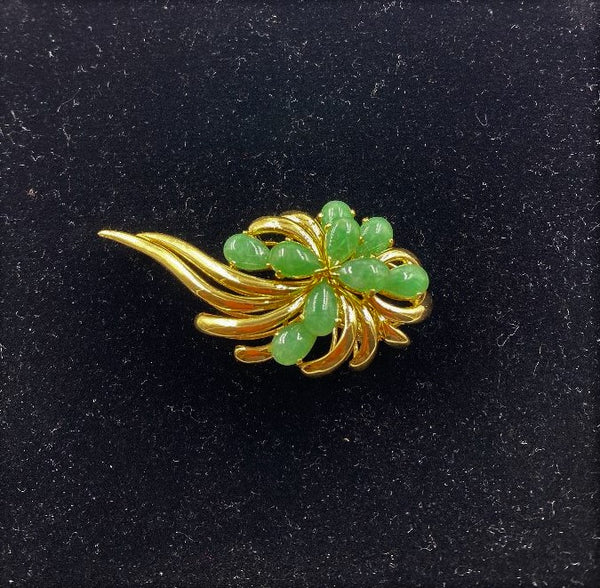 Gump's 18K Yellow Gold & Green Jadeite Floral Brooch