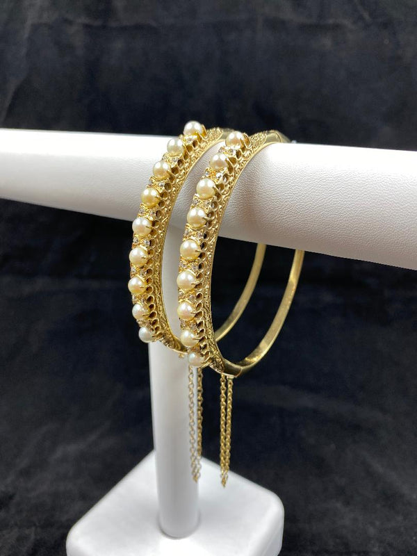 Pair 14K Yellow Gold Hinged Pearl & Diamond Bracelets