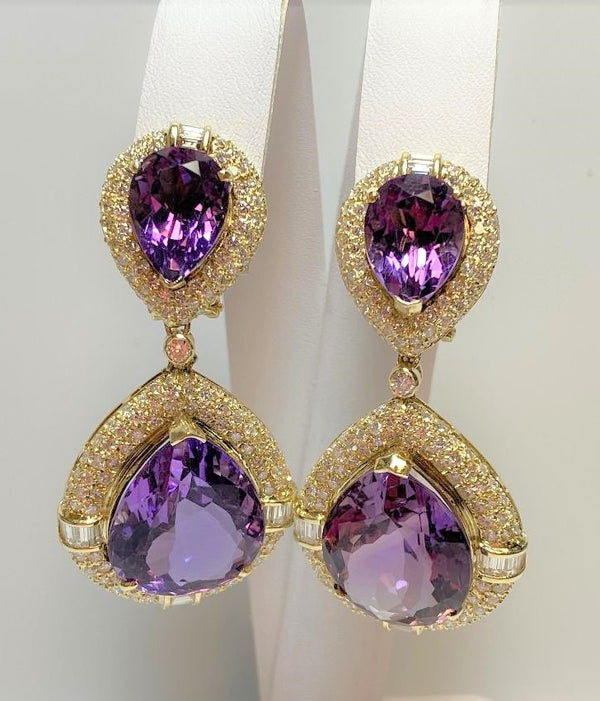 Pair 14K Yellow Gold Amethyst & Diamond Pendant Earrings