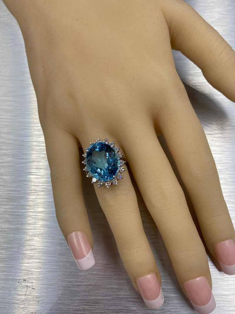 14K White Gold Blue Topaz & Diamond Ring