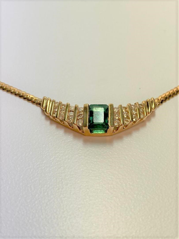 14K Yellow Gold Emerald & Diamond Necklace