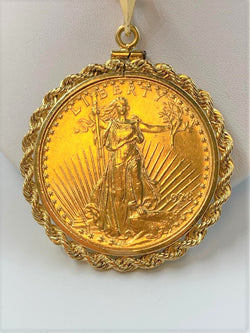 14K Yellow Gold Rope Edged $20 US Liberty Coin Pendant