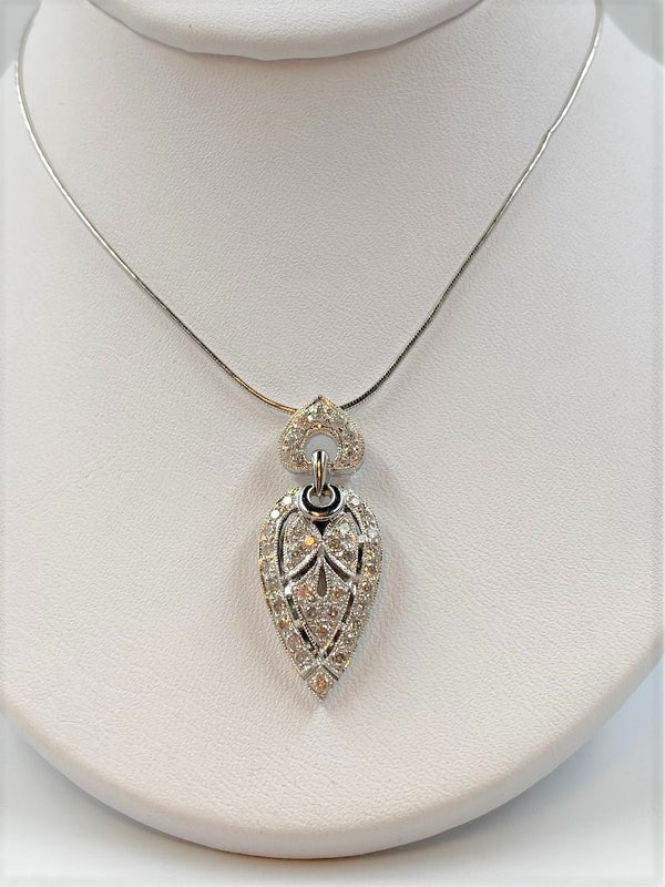 18K White Gold Teardrop Diamond Pendant