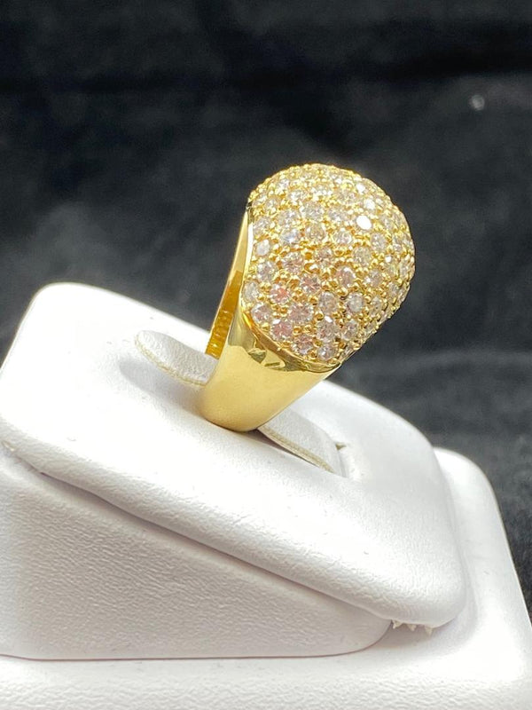 18K Yellow Gold Pavé Diamond Dome Ring