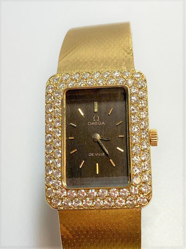 Lady's Omega 18K Yellow Gold, Diamond Wristwatch