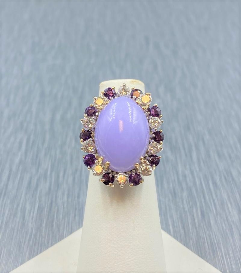 14K Yellow Gold Lavender Jade, Amethyst & Diamond Ring