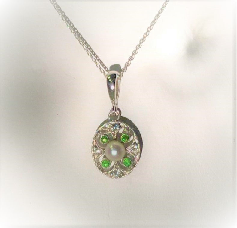 Antique Platinum Cultured Pearl and Demantoid Garnet Pendant