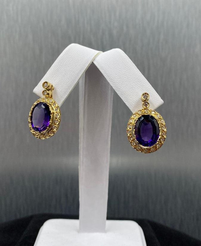 Pair 18K Yellow Gold Amethyst & Diamond Leverback Pierced Earrings