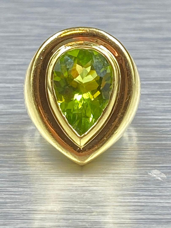 18K Yellow Gold Peridot Ring